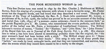 New Programme: The Tale of the Poor Murdered Woman featuring